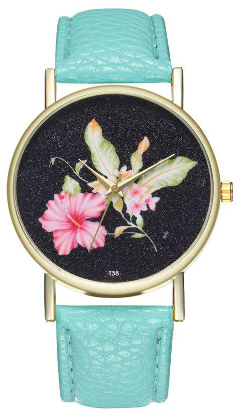 ZhouLianFa T35 Casual Flower Pattern Women Watch - BLUE GREEN