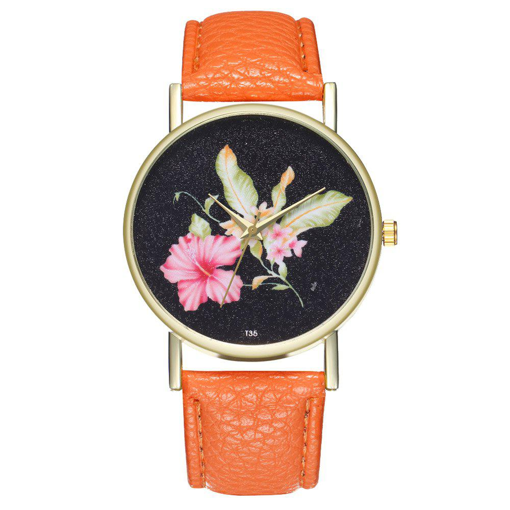 ZhouLianFa T35 Casual Flower Pattern Women Watch - ORANGE