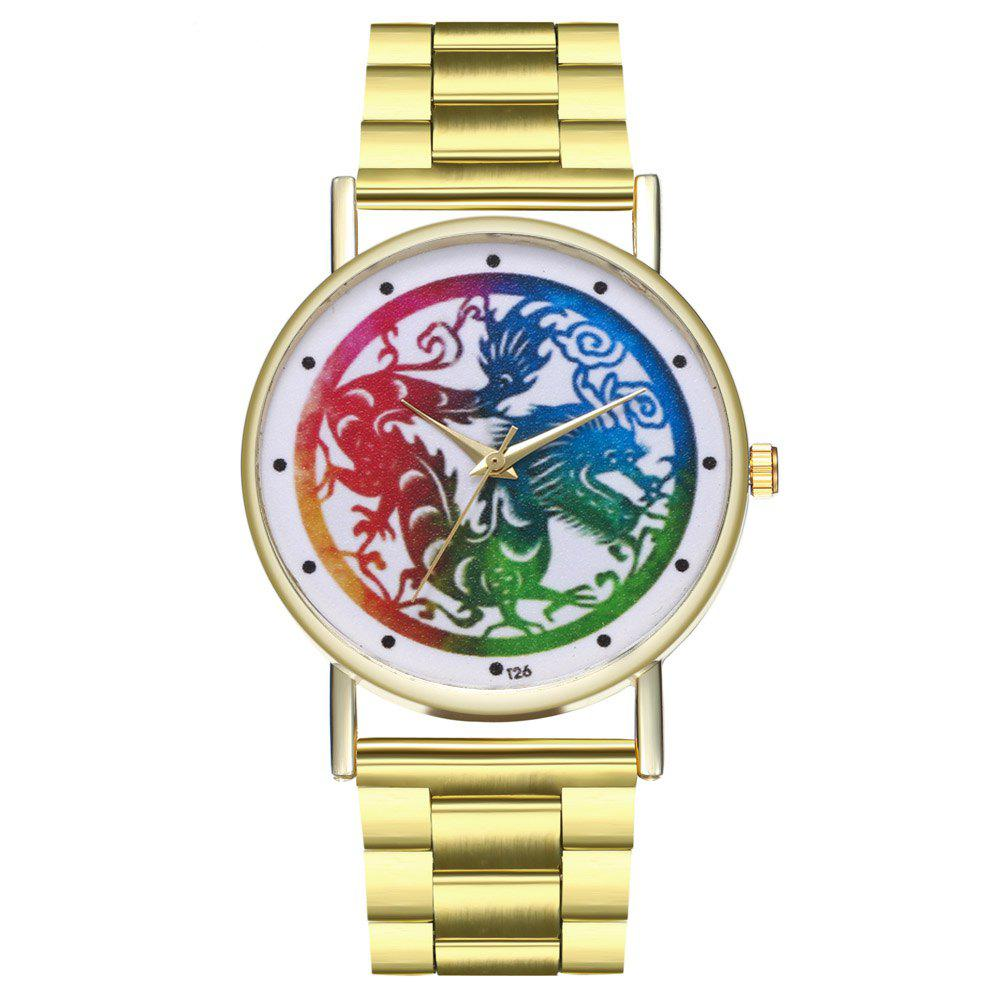 Kingou T27 Trendy Fashion Dragon Pattern Quartz Watch - GOLD