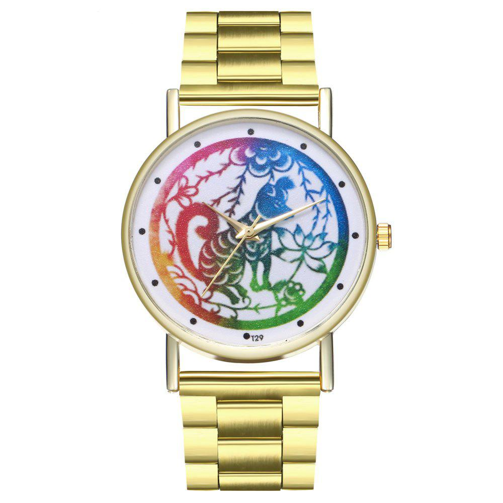 Kingou T30 Trendy Personality Animal Pattern Quartz Watch - GOLD