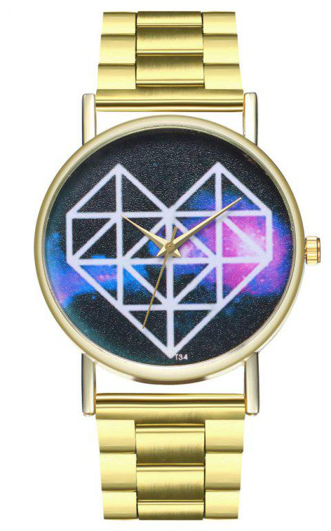 Kingou T33 Beautiful Creative Love Pattern Quartz Watch - GOLD