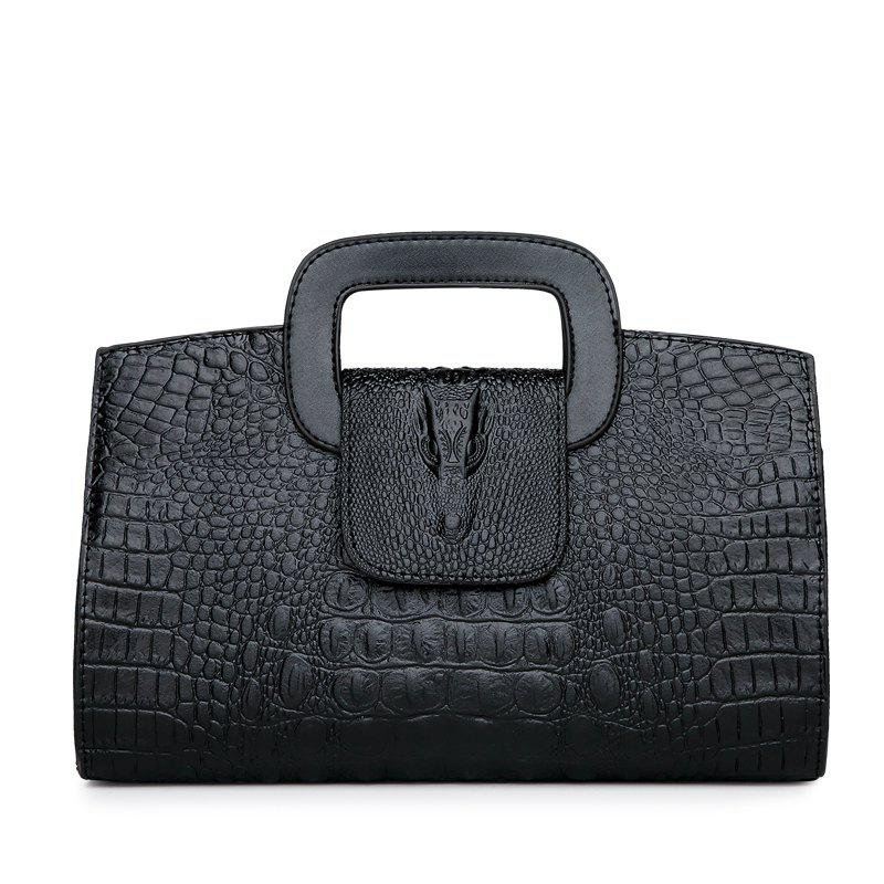 Snake Leather Clutch Bag Female European And American Fashion Portable Handbags Small Black