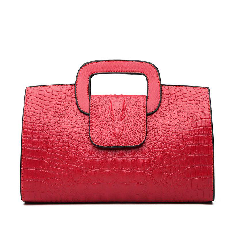 Snake Leather Clutch Bag Female European and American Fashion Portable Handbags Small - FERRARI RED