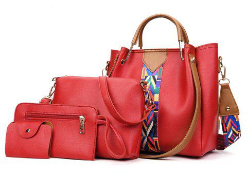 Broadband Oblique Dice Mother Bag Bucket Handbag Large Shoulder - LOVE RED