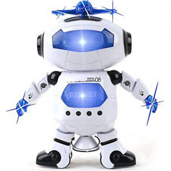 Dancing Robot Musical And Colorful Flashing Lights Kids Fun Toy Figure Spins And Side Steps - WHITE