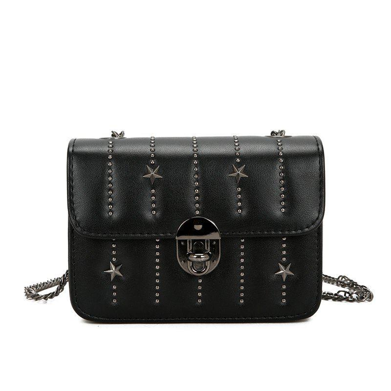 Chain Single Shoulder Bag Inclined Across Small Package - BLACK