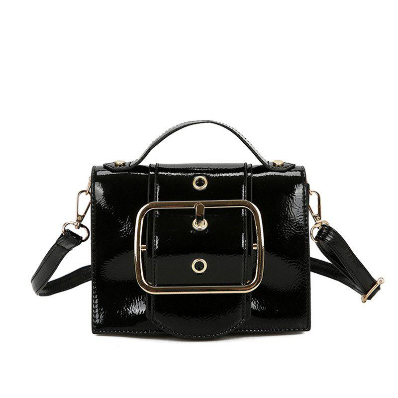 Package Cover Type Lock Inclined Shoulder Bag - BLACK