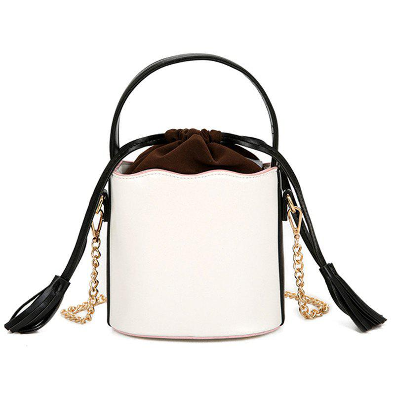 Tassel Bucket Bag Oblique Cross Package - WHITE
