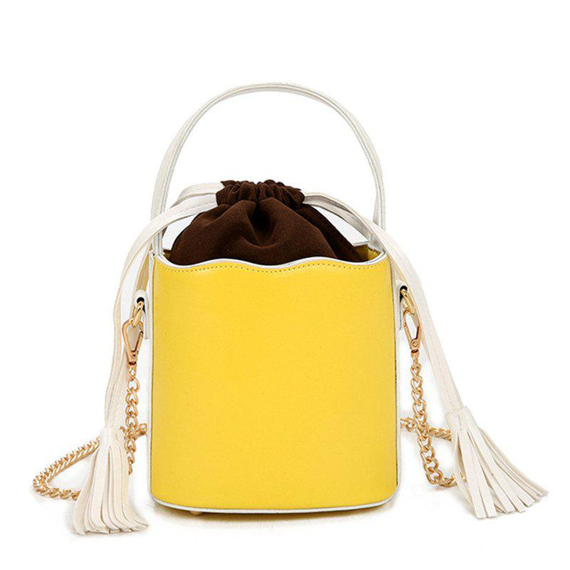 Tassel Bucket Bag Oblique Cross Package - YELLOW