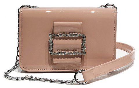 Fashion Wild Chain Patent Leather Bright Shoulder Bag - PINK