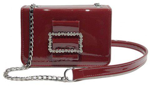 Fashion Wild Chain Patent Leather Bright Shoulder Bag - RED