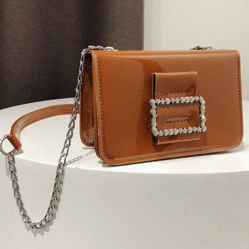 Fashion Wild Chain Patent Leather Bright Shoulder Bag - BROWN