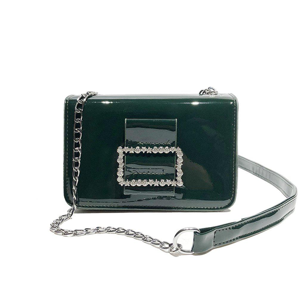 Fashion Wild Chain Patent Leather Bright Shoulder Bag - GREEN