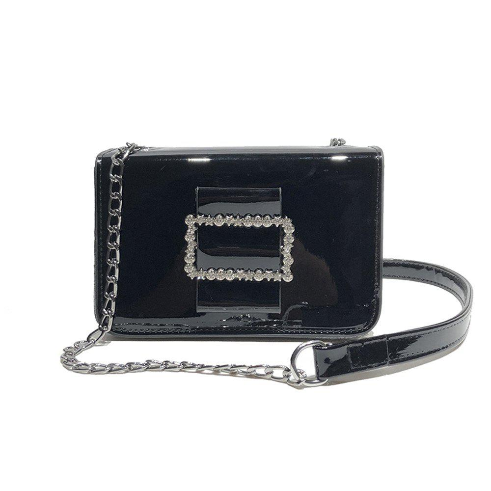 Fashion Wild Chain Patent Leather Bright Shoulder Bag - NIGHT