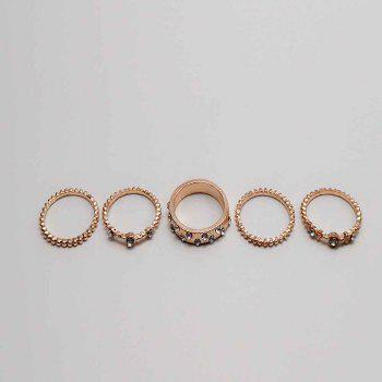 Five Pieces of Rose Gold Diamond Ring - ROSE GOLD 7