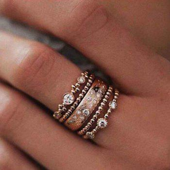 Five Pieces of Rose Gold Diamond Ring - ROSE GOLD 9
