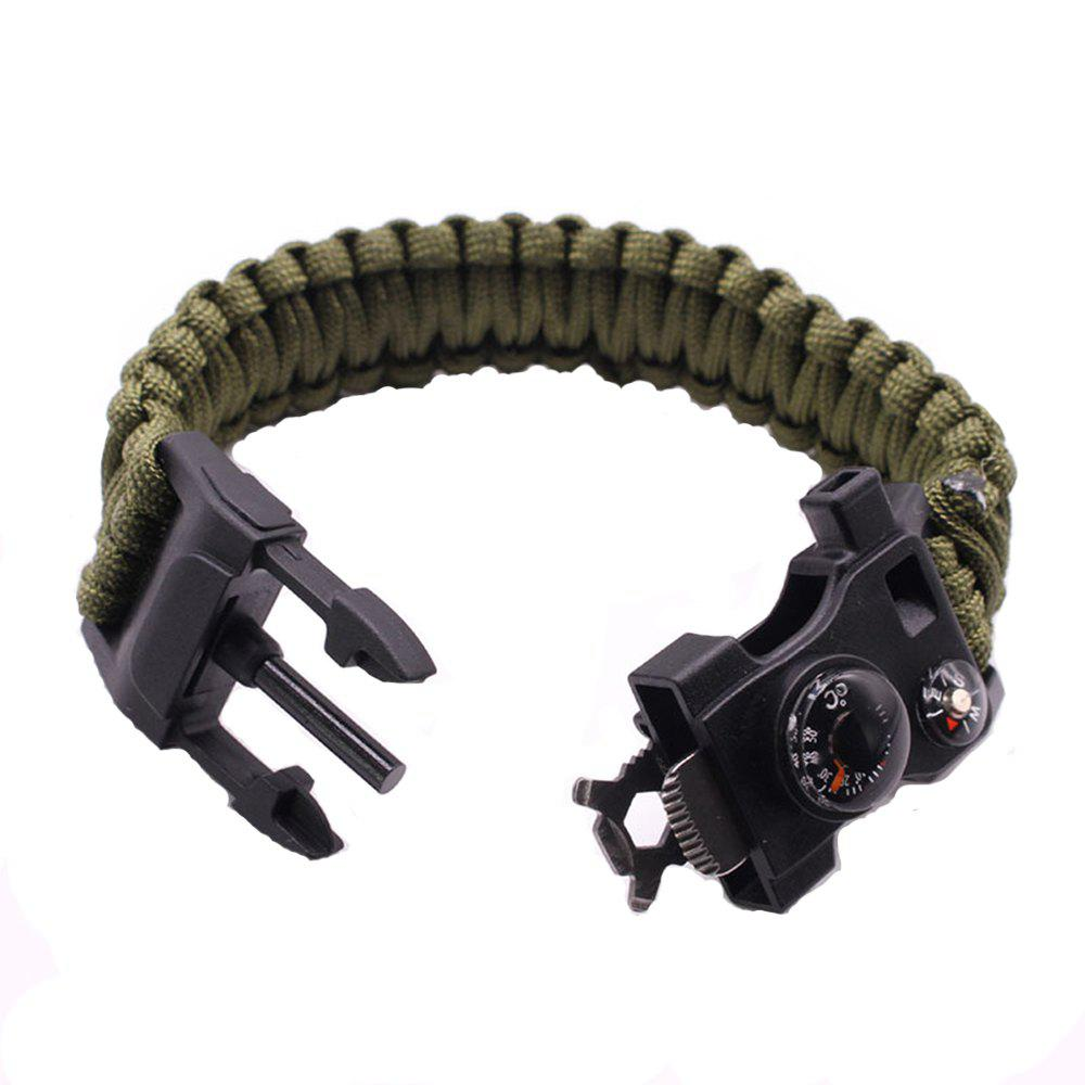 Multifunctional Outdoor Camping Rescue Survival Bracelet - FOREST GREEN