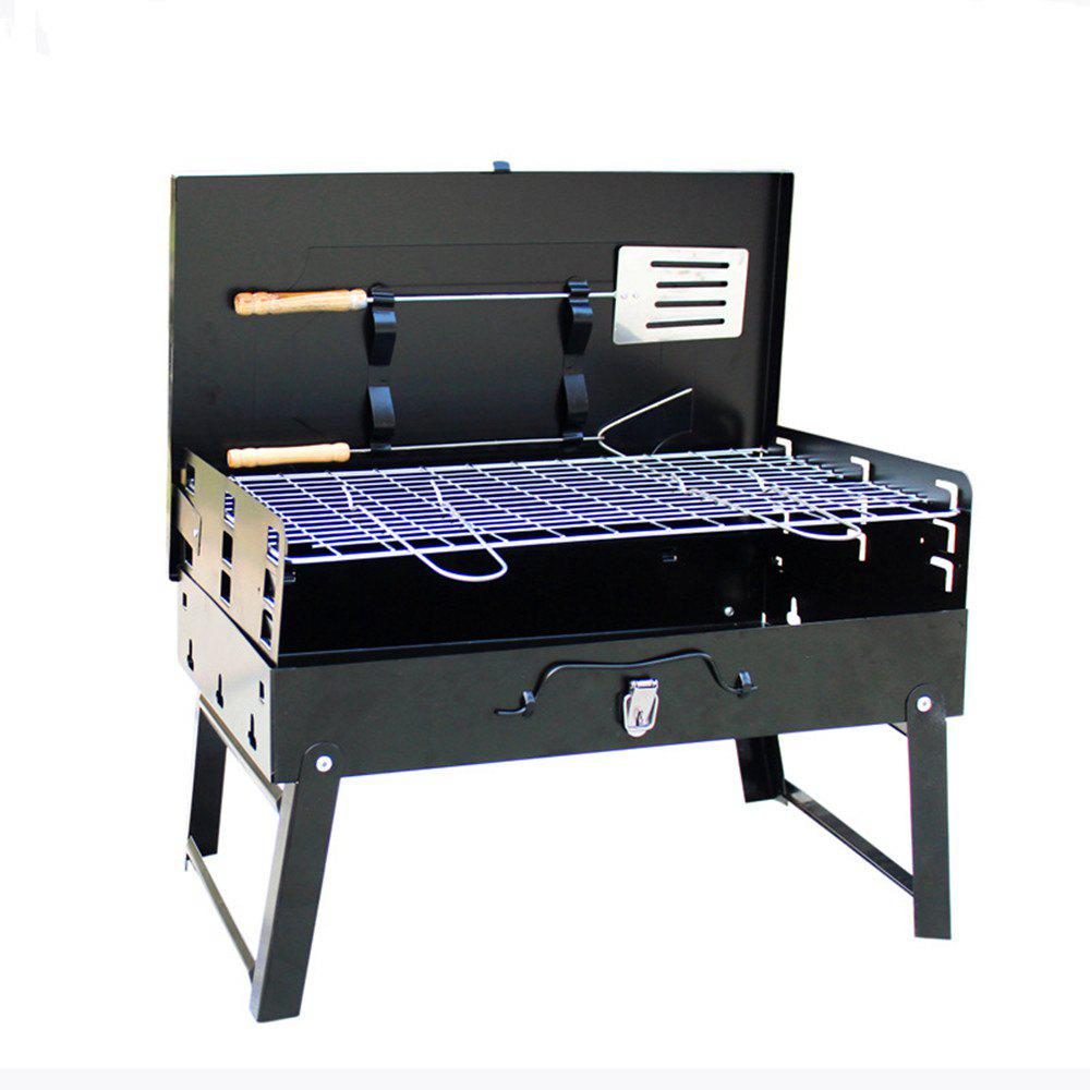 Foldable Portable Charcoal Barbecue Grill - BLACK