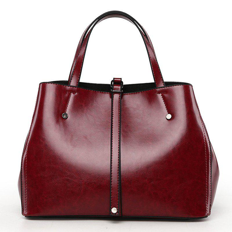 Female Fashion Atmospheric Shoulder Bag Simple Messenger Handbag - FIREBRICK