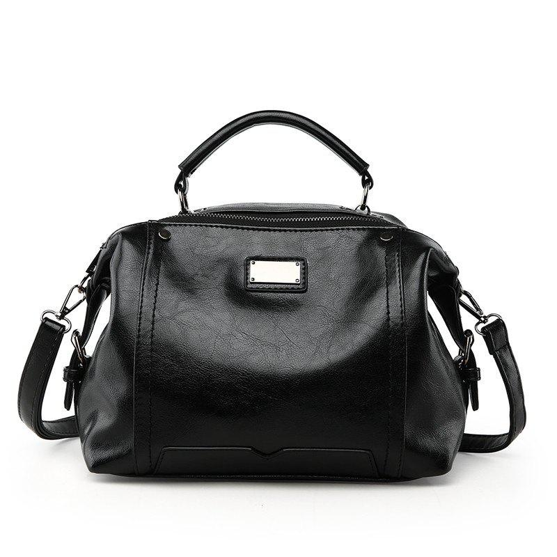 Female Fashion Wild Shoulder Messenger Bag Atmosphere Personality Boston Handbags - BLACK