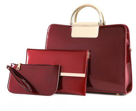 Bright Leather Female Briefcase Patent Mother Bag Three-piece Large-capacity Mot - RED WINE