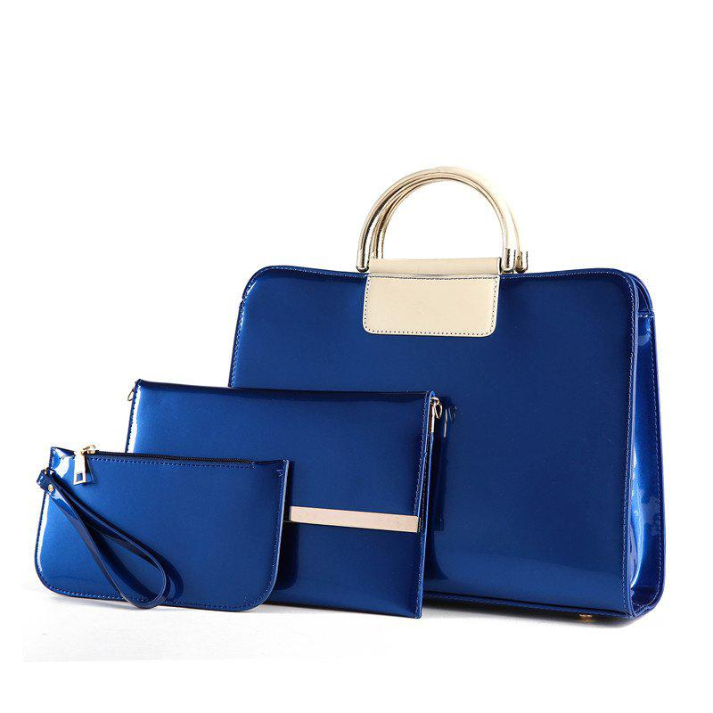 Bright Leather Female Briefcase Patent Mother Bag Three-piece Large-capacity Mot - BLUE ORCHID