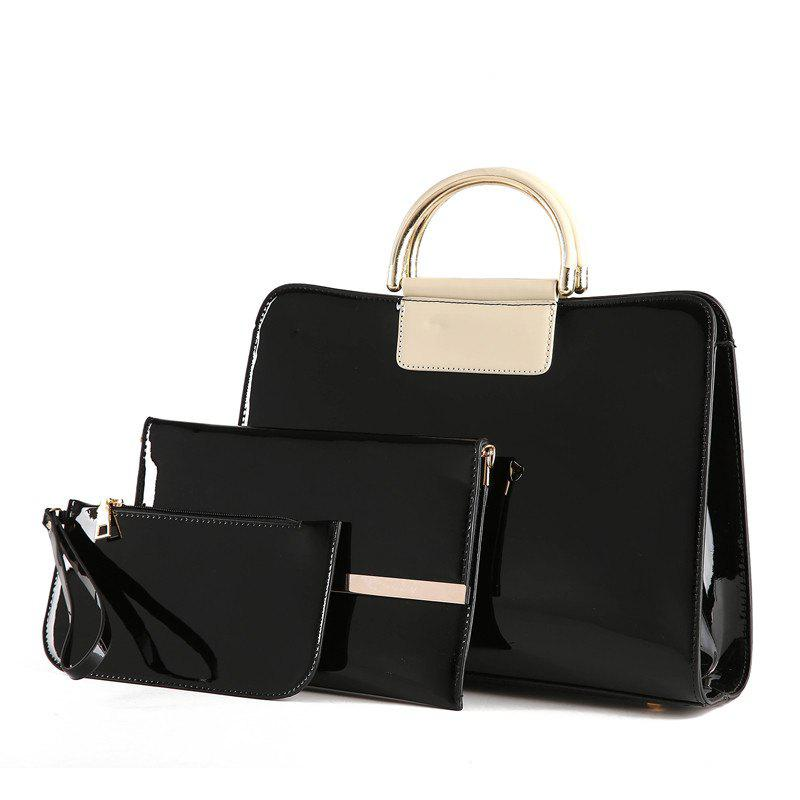 Bright Leather Female Briefcase Patent Mother Bag Three-piece Large-capacity Mot - NIGHT