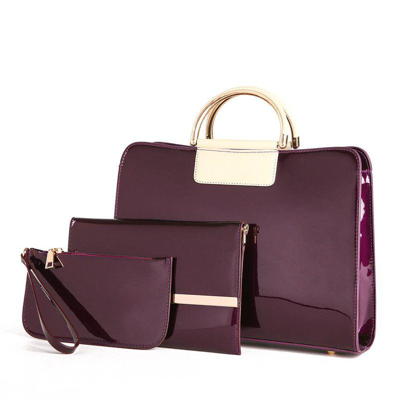Bright Leather Female Briefcase Patent Mother Bag Three-piece Large-capacity Mot - VELVET MAROON