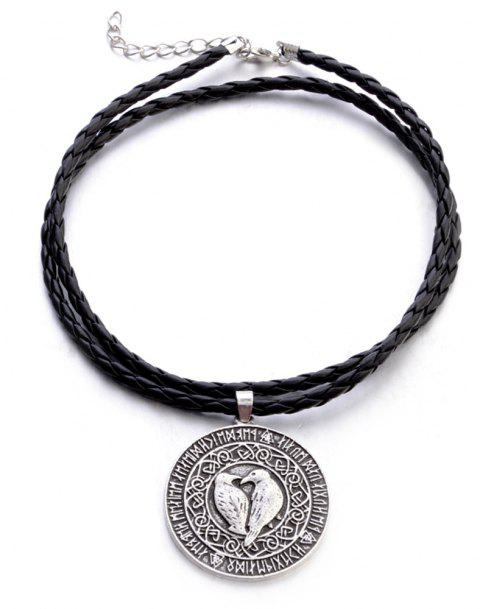 Viking Bird Amulet Pendant European and American New Men'S Leather Rope - SILVER