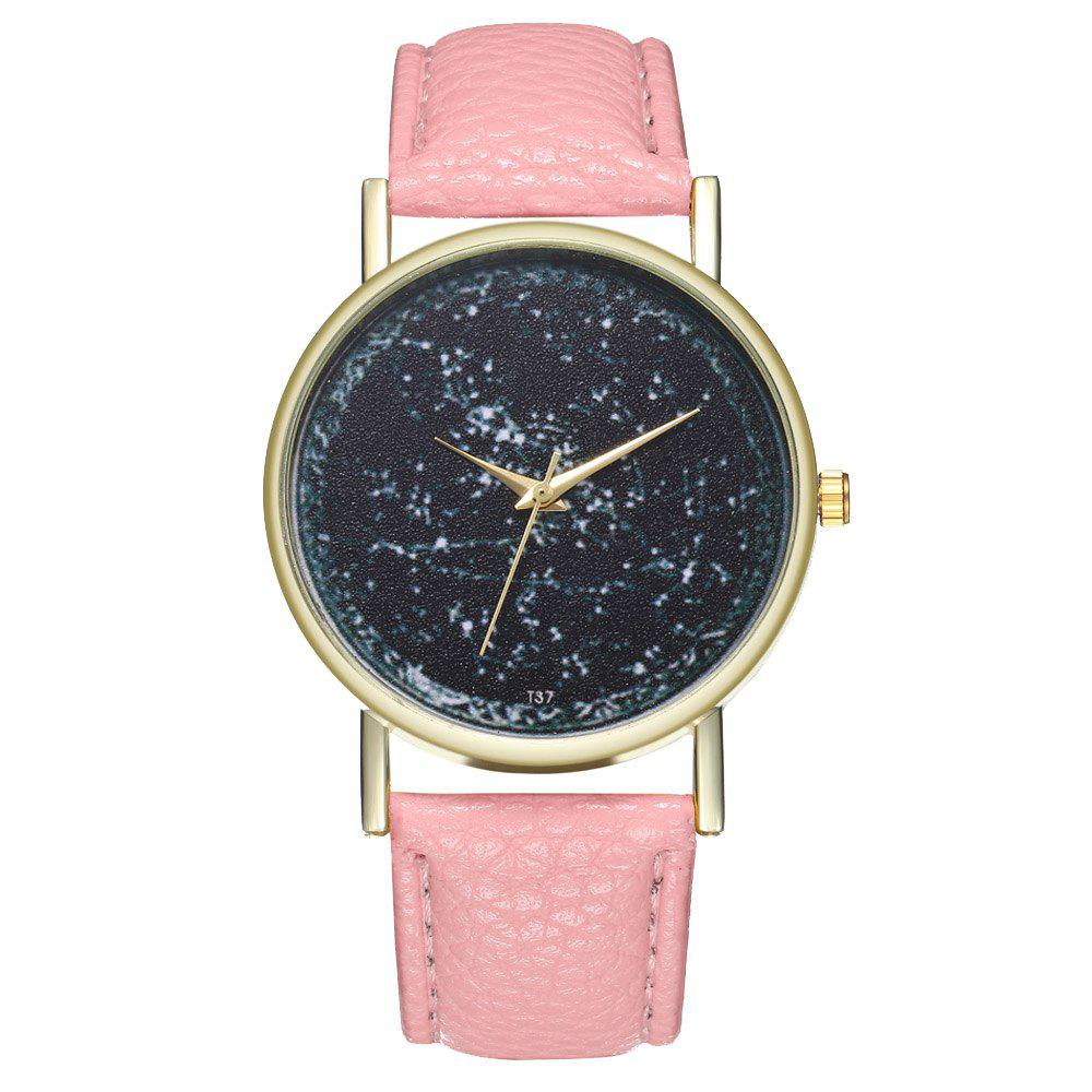Zhou Lianfa Casual PU Leather Band Quartz Watch - PINK