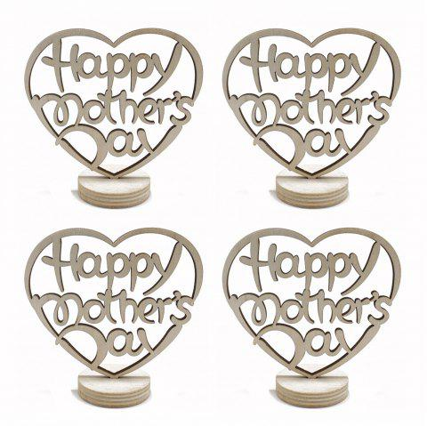 Happy Mother's Day Holidays Home Furnishing Wood Decoration Crafts 4pcs - BEIGE