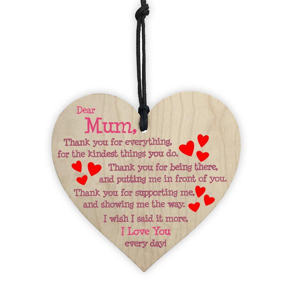 Mother's Day Home Decoration Wooden Love Print DIY Color Painting Tag 1PC - BEIGE