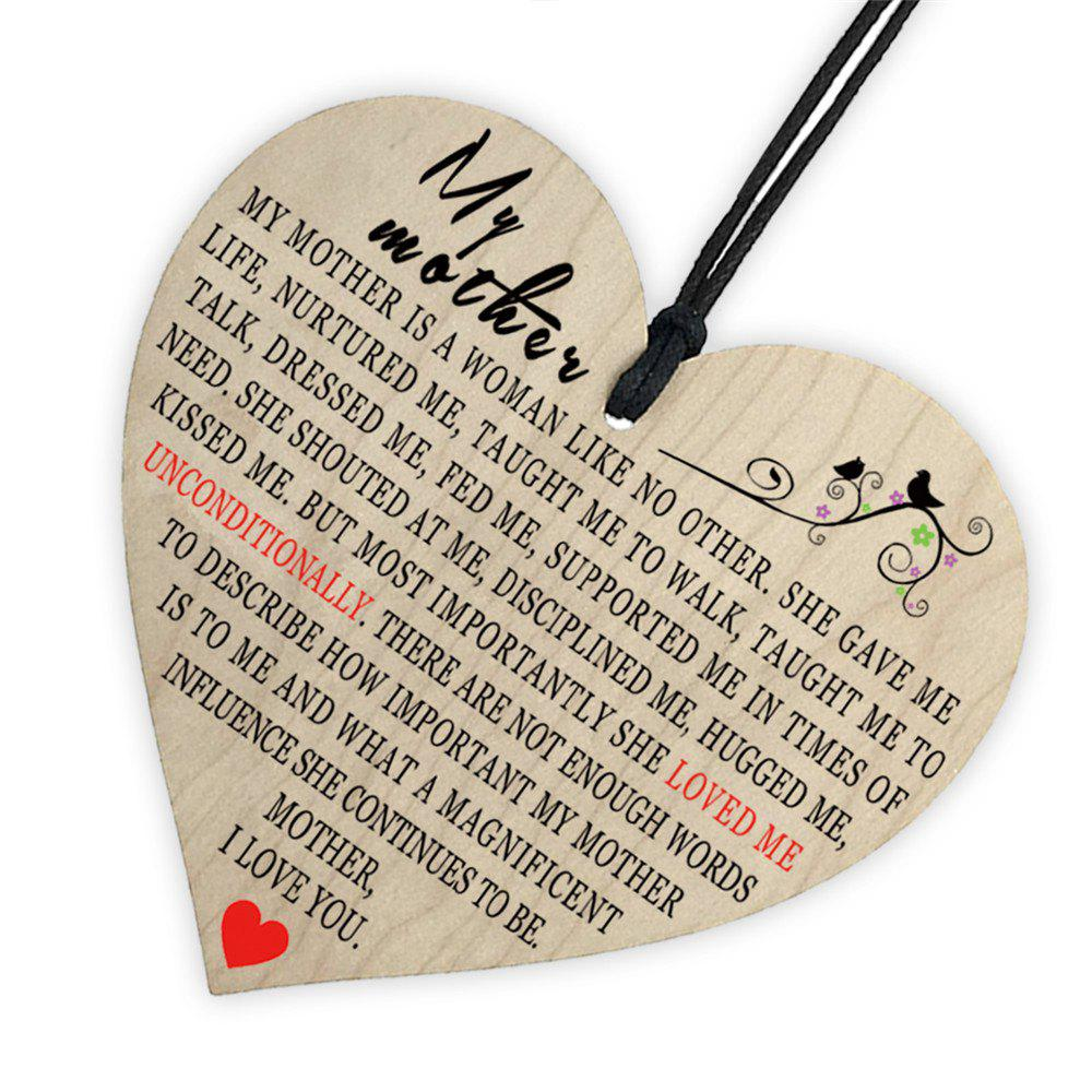 Mother'S Holiday Home Decoration, Creative Wooden Printing and Love Gift Tag - BEIGE