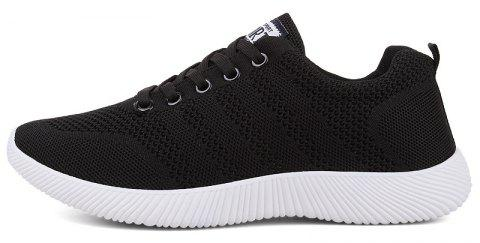 New Men Round Head Youth Breathable Cool Mesh Casual Sports Shoes - BLACK 43