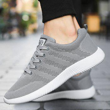 New Men Round Head Youth Breathable Cool Mesh Casual Sports Shoes - GRAY CLOUD 43