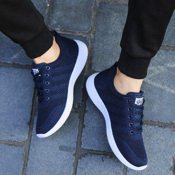 New Men Round Head Youth Breathable Cool Mesh Casual Sports Shoes - DENIM DARK BLUE 39