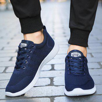 New Men Round Head Youth Breathable Cool Mesh Casual Sports Shoes - DENIM DARK BLUE 43