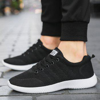 New Men Round Head Youth Breathable Cool Mesh Casual Sports Shoes - BLACK 42
