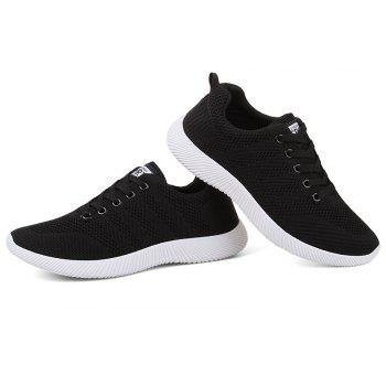 New Men Round Head Youth Breathable Cool Mesh Casual Sports Shoes - BLACK 44