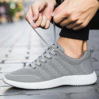 New Men Round Head Youth Breathable Cool Mesh Casual Sports Shoes - GRAY CLOUD 44