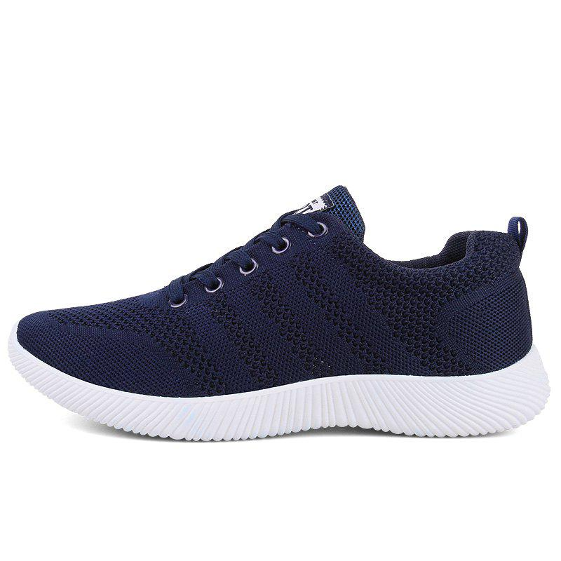 New Men Round Head Youth Breathable Cool Mesh Casual Sports Shoes - DENIM DARK BLUE 44