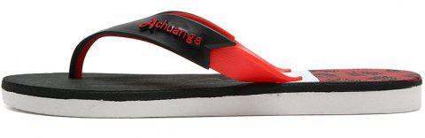 New Men Pure Color Plane Flat Beach Casual Slippers - RED 40