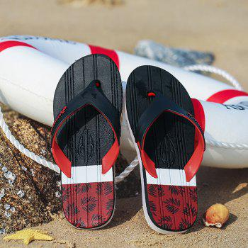 New Men Pure Color Plane Flat Beach Casual Slippers - RED 41