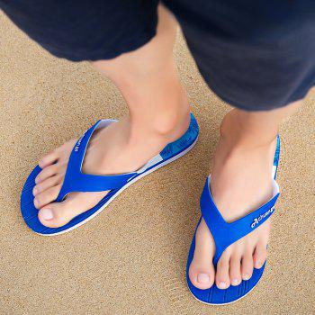 New Men Pure Color Plane Flat Beach Casual Slippers - DAY SKY BLUE 44