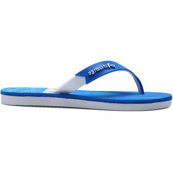 New Men Pure Color Plane Flat Beach Casual Slippers - DAY SKY BLUE 41