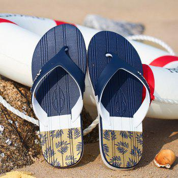 New Men Pure Color Plane Flat Beach Casual Slippers - EARTH BLUE 44