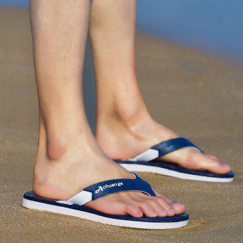 New Men Pure Color Plane Flat Beach Casual Slippers - EARTH BLUE 43