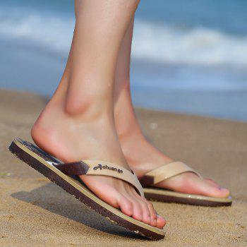 New Men Pure Color Plane Flat Beach Casual Slippers - GINGER BROWN 44