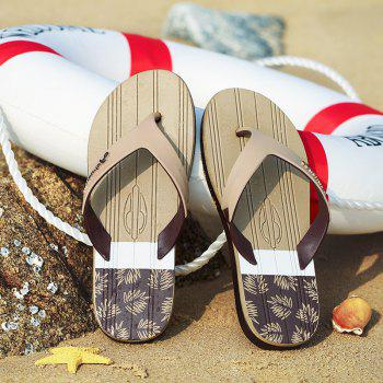 New Men Pure Color Plane Flat Beach Casual Slippers - GINGER BROWN 43