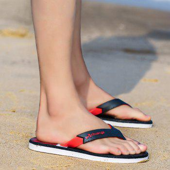 New Men Pure Color Plane Flat Beach Casual Slippers - RED 42